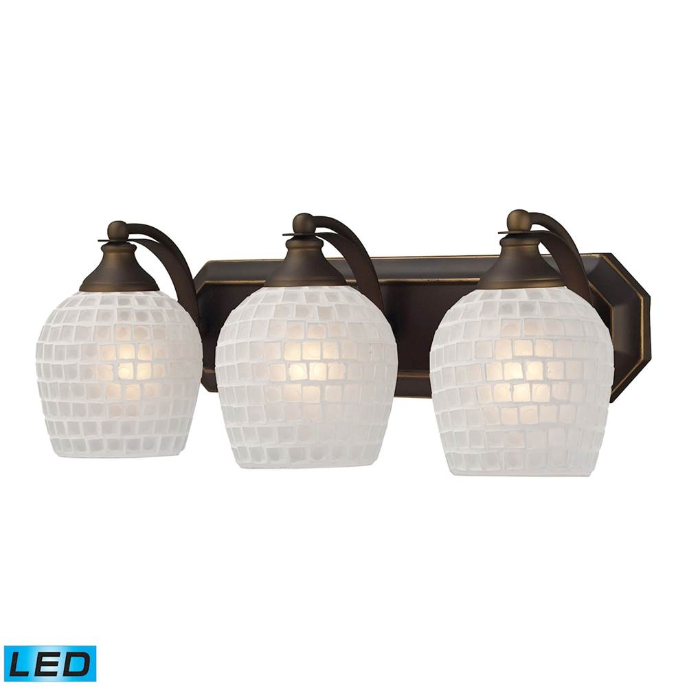 Elk Lighting Three Light Vanity Bathroom Lights item 570-3B-WHT-LED