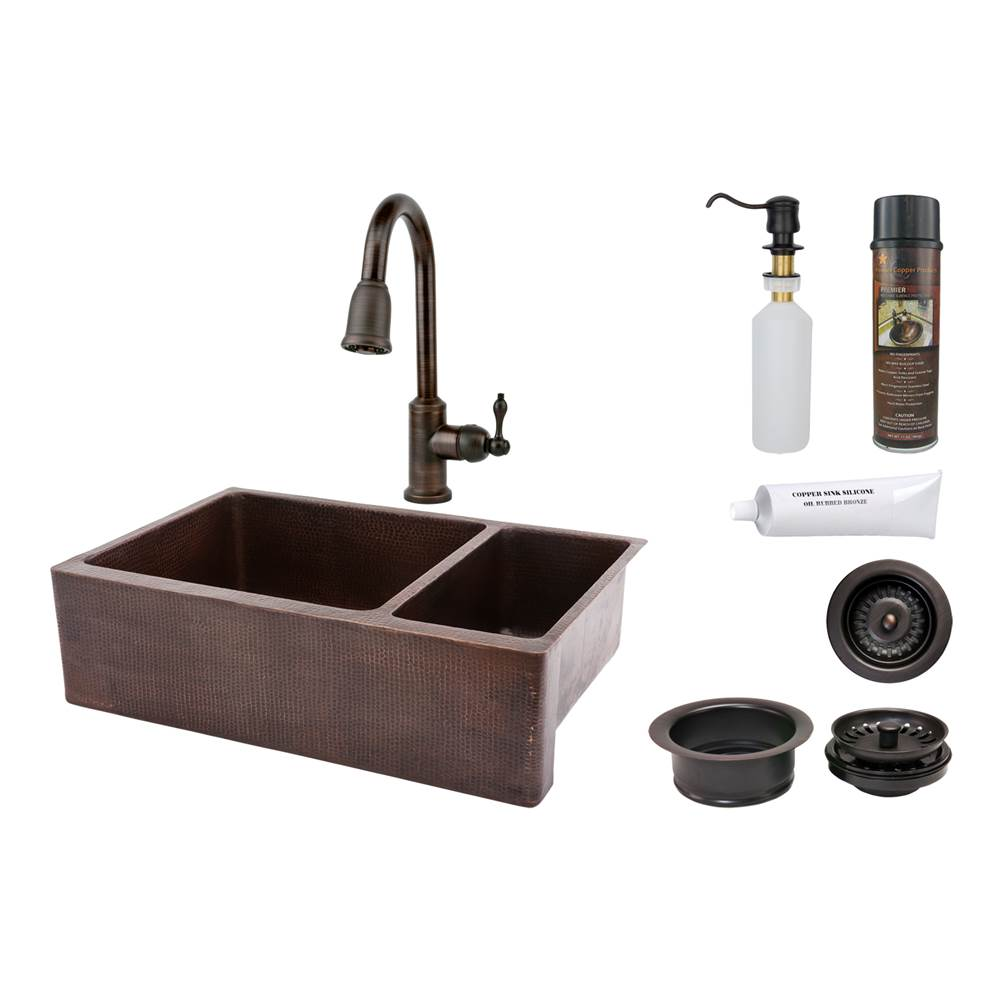 Premier Copper Products  Kitchen Sink And Faucet Combos item KSP2_KA75DB33229