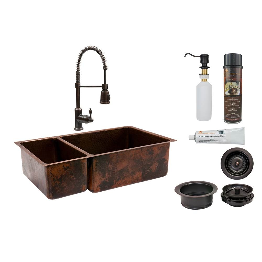 Premier Copper Products Undermount Kitchen Sink And Faucet Combos item KSP4_K25DB33199