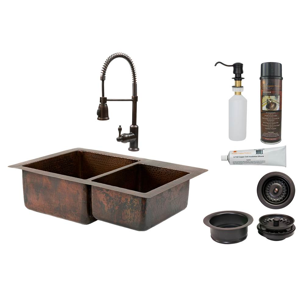 Premier Copper Products Undermount Kitchen Sink And Faucet Combos item KSP4_K60DB33229