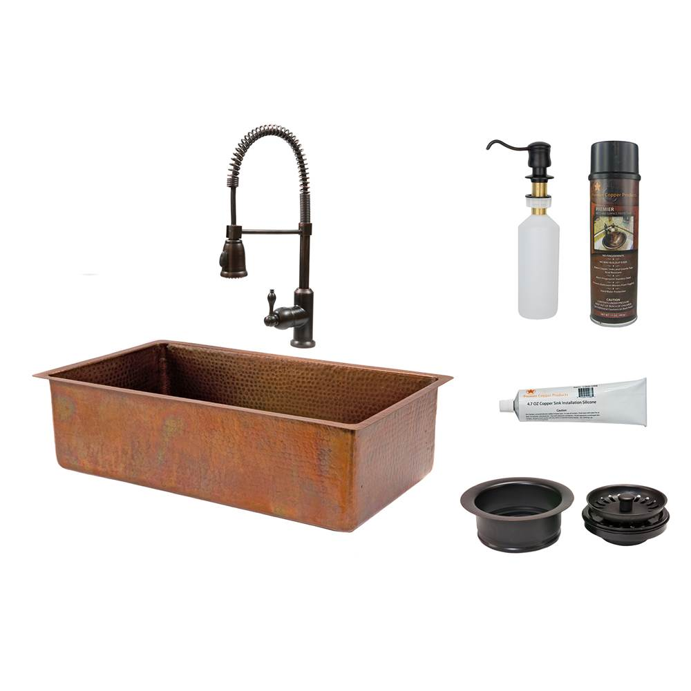 Premier Copper Products Undermount Kitchen Sink And Faucet Combos item KSP4_KSB33199