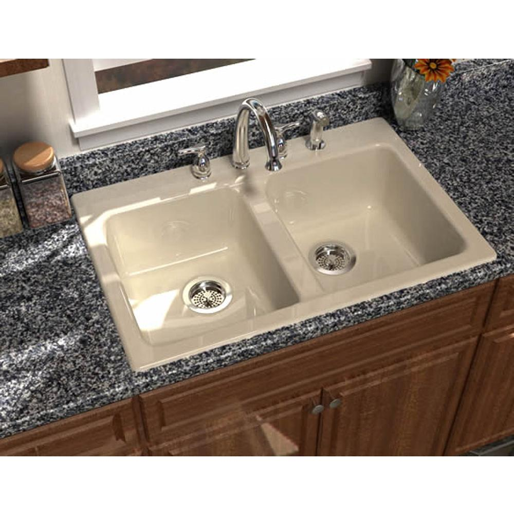 Song   S 8430 3 61   PRIMA™, 33u0027u0027x22u0027u0027 Self Rimming, 2 Bowl Sink, 3 Faucet  Holes, Color Biscuit